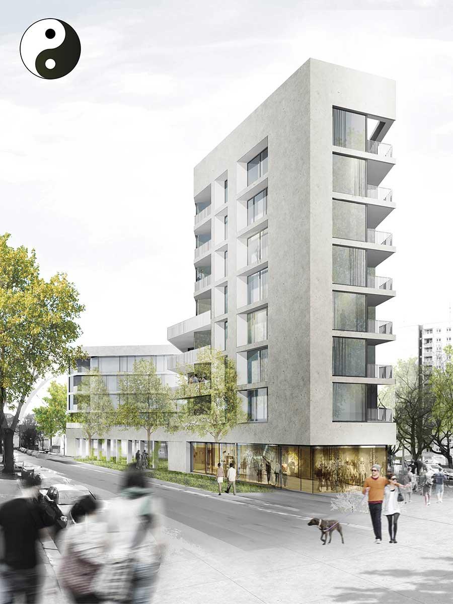 Geplantes Neubauprojekt in Dresden – Konzeptzeichnung des fertigen Neubaus