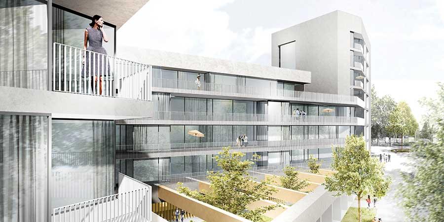 Geplantes Neubauprojekt in Dresden – lange Frontseite mit Balkonen